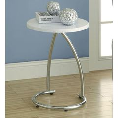 Buy Monarch Specialties 18x18 Round Accent Table in Glossy White on sale online