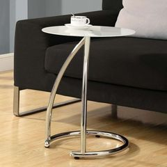 Buy Monarch Specialties 18 Inch Round Accent Table w/ Frosted Tempered Glass in Chrome on sale online
