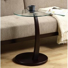 Buy Monarch Specialties 18x18 Round Bentwood Accent Table w/ Tempered Glass in Cappuccino on sale online