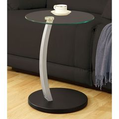 Buy Monarch Specialties 18x18 Round Bentwood Accent Table w/ Tempered Glass in Chrome, Black on sale online