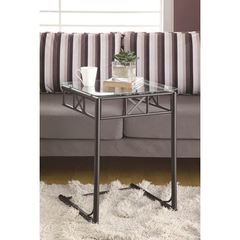 Buy Monarch Specialties 18x18 Square Accent Table w/ Tempered Glass Top in Black on sale online