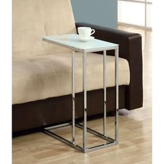 Buy Monarch Specialties 18x10 Rectangular Accent Table w/ Tempered Glass in Chrome on sale online