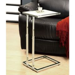 Buy Monarch Specialties 18x12 Rectangular Adjustable Height Accent Table w/ Tempered Glass in Chrome, White on sale online