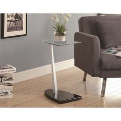 Buy Monarch Specialties 18x14 Accent Table w/ Tempered Glass in Black on sale online