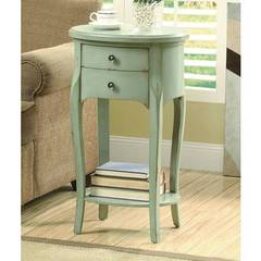 Buy Monarch Specialties 18x14 Oval Accent Table w/ 2 Drawers in Antique Green on sale online