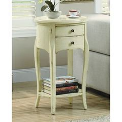 Buy Monarch Specialties 18x14 Oval Accent Table w/ 2 Drawers in Antique White on sale online