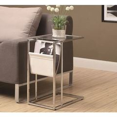 Buy Monarch Specialties 19x12 Rectangular Accent Table w/ Magazine Holder in White on sale online
