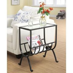 Buy Monarch Specialties 19x12 Rectangular End Table w/ Tempered Glass in Brown on sale online