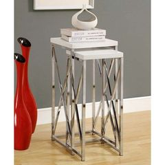 Buy Monarch Specialties 2 Piece 14 Inch Square Nesting Table Set in Chrome, White on sale online
