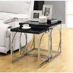 Buy Monarch Specialties 2 Piece 20 Inch Square Nesting Table Set in Chrome, Black on sale online