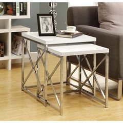 Buy Monarch Specialties 2 Piece 20 Inch Square Nesting Table Set in Chrome, White on sale online