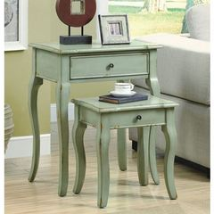 Buy Monarch Specialties 2 Piece 23x15 Rectangular Nesting Table Set in Antique Green on sale online