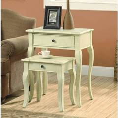 Buy Monarch Specialties 2 Piece 23x15 Rectangular Nesting Table Set in Antique White on sale online