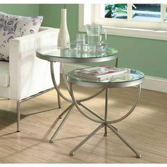 Buy Monarch Specialties 2 Piece 24 Inch Round Nesting Table Set in Silver on sale online