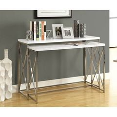 Buy Monarch Specialties 2 Piece 46x18 Console Nesting Table Set in Chrome, White on sale online