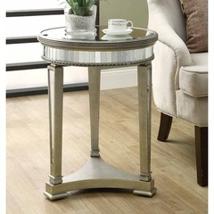 Buy Monarch Specialties 20x20 Round Mirrored Accent Table in Silver, Light Wood on sale online