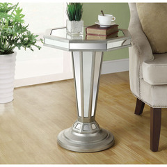 Buy Monarch Specialties 22 Inch Octagon Mirrored Accent Table in Silver, Light Wood on sale online