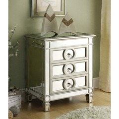 Buy Monarch Specialties 22x16 Rectangular Accent Table w/ 3 Drawers in Silver, Light Wood on sale online