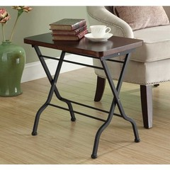 Buy Monarch Specialties 23x13 Rectangular Folding Accent Table in Cherry, Charcoal on sale online