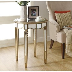 Buy Monarch Specialties 24x24 Round Mirrored Accent Table in Silver, Light Wood on sale online
