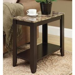 Buy Monarch Specialties 24x12 Rectangular Accent Side Table w/ Marble Top in Cappuccino on sale online