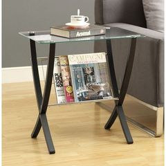 Buy Monarch Specialties 24x16 Rectangular Bentwood End Table w/ Tempered Glass in Cappuccino on sale online