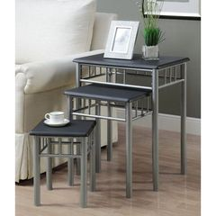 Buy Monarch Specialties 3 Piece 22x16 Nesting Table Set in Black, Silver on sale online