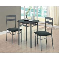 Buy Monarch Specialties 3 Piece 30 Inch Round Bistro Set in Black and Silver on sale online