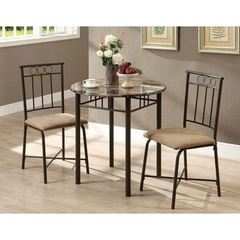 Buy Monarch Specialties 3 Piece 30x30 Round Bistro Table Set in Cappuccino and Bronze on sale online