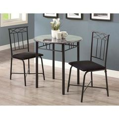 Buy Monarch Specialties 3 Piece 30x30 Round Bistro Table Set in Charcoal on sale online