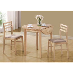 Buy Monarch Specialties 3 Piece 36x36 Round Dining Room Set in Light Wood on sale online