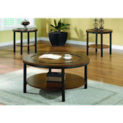 Buy Monarch Specialties 3 Piece 38 Inch Round Occasional Table Set in Medium Brown on sale online