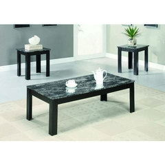 Buy Monarch Specialties 3 Piece 44x22 Occasional Table Set w/ Marble-Look Top in Black on sale online