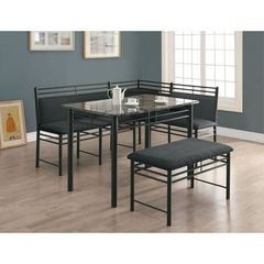 Buy Monarch Specialties 3 Piece 47x28 Rectangular Corner Dining Set in Charcoal on sale online