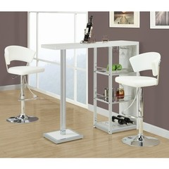 Buy Monarch Specialties 3 Piece 48x16 Bar Table Set in White, Chrome on sale online
