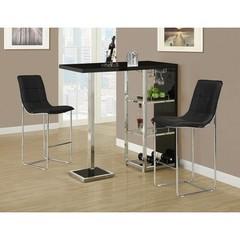 Buy Monarch Specialties 3 Piece 48x16 Bar Table Set w/ Armless Barstools in Black, Chrome on sale online