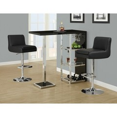 Buy Monarch Specialties 3 Piece 48x16 Bar Table Set w/ Armless Barstools in Black and Chrome on sale online