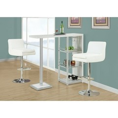 Buy Monarch Specialties 3 Piece 48x16 Bar Table Set w/ Armless Swivel Barstools in White, Chrome on sale online