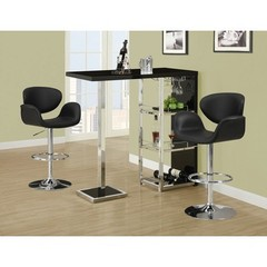 Buy Monarch Specialties 3 Piece 48x16 Bar Table Set w/ Mid Back Height Barstools in Black and Chrome on sale online