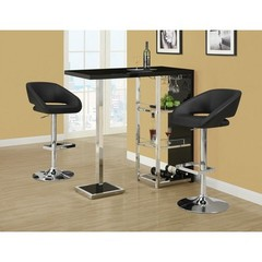 Buy Monarch Specialties 3 Piece 48x16 Bar Table Set w/ Swivel Barstools in Black and Chrome on sale online