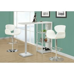 Buy Monarch Specialties 3 Piece 48x16 Bar Table Set w/ Swivel Barstools in Chrome, White on sale online
