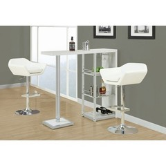 Buy Monarch Specialties 3 Piece 48x16 Bar Table Set w/ Swivel Barstools in White, Chrome on sale online