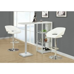 Buy Monarch Specialties 3 Piece 48x16 Bar Table Set w/ Swivel Barstools in White and Chrome on sale online