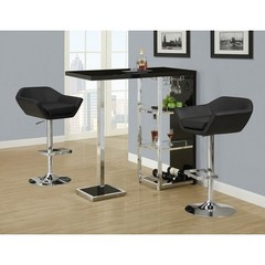 Buy Monarch Specialties 3 Piece 48x16 Bar Table Set w/ Swivel Barstools w/ Arms in Black and Chrome on sale online