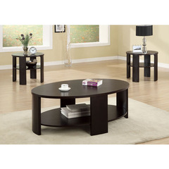 Buy Monarch Specialties 3 Piece 48x32 Oval Occasional Table Set in Cherry on sale online