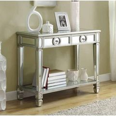 Buy Monarch Specialties 38x17 Rectangular Mirrored Sofa Table w/ 2 Drawers on sale online