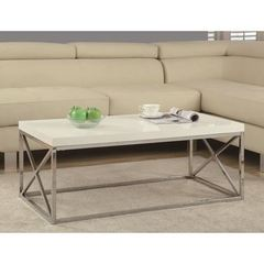 Buy Monarch Specialties 44x26 Rectangular Cocktail Table in Glossy White on sale online