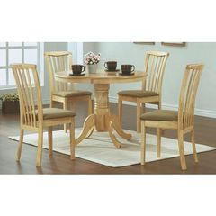 Buy Monarch Specialties 5 Piece 40 Inch Round Dining Room Set in Natural, Light Wood on sale online