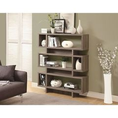 Buy Monarch Specialties 55 Inch Reclaimed-Look Modern Bookcase in Dark Taupe on sale online