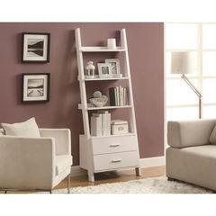Buy Monarch Specialties 69 Inch Ladder Bookcase w/ 2 Storage Drawers in White on sale online